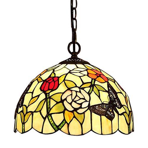 E27 Tiffany Pendelleuchte Deko Leuchte Glas Hängelampe Höheverstellbar Vintage Esstisch Esszimmer Lampen Retro Kronleuchter Küchenlampen Wohnzimmerlampe Hängeleuchte Schlafzimmer Keller Loft Cafe Bar