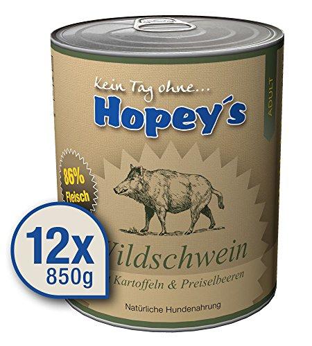 Hopey's Nassfutter Wildschwein mit Kartoffeln. Reines Muskelfleisch für empfindliche Hunde 12x 850g Dosen