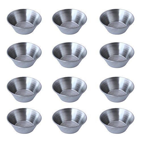 Stainless Steel Portion Cups Smooth Stainless Steel Round Sauce Cup, 1.5 OZ-48 Pack, Silver