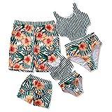 IFFEI Family Matching Swimwear One Piece Floral Printed Bathing Suit Tank Top Striped Beachwear Men: XL
