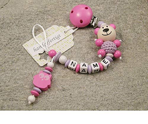 Baby SCHNULLERKETTE mit NAMEN - Schnullerhalter mit Wunschnamen - Mädchen Motiv Bär und Eule in pink