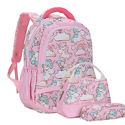 Unicorn Backpack, School Backpacks Girls with Lunch Bags and Pencil Case, Students Bookbags with Adjustable Shoulder Chest Strap, Kids School Bags Rucksack 3 in 1 Backpacks Set for Teen Girls