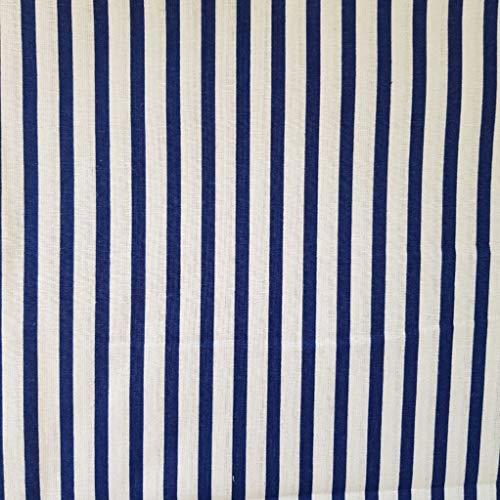 Pingianer - Tela de algodón a rayas para niños, 100 % algodón, por metros, artesanía, tela de costura, algodón, Rayas azul oscuro y blanco., 100x160cm (11,99/m)