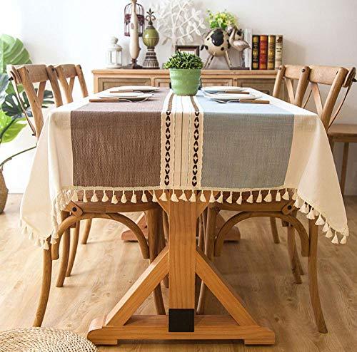 ggzgyz Jardín Mantel de Lino Decorativo a Cuadros con Borla Resistente al Aceite Resistente al Agua Fuerte Rectangular Mesa de Comedor de Boda Cubierta Mantel de té