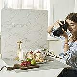 BEIYANG 60x60cm 2 tableros de fondo fotográfico con 2 soportes para fondo plano o fotografía de alimentos, textura de cemento de mármol, fondos fotográficos realistas para Vlog YouTube Videodos