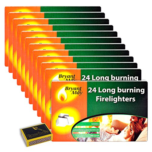 BANK HOLIDAY BBQ Fire Pit Chiminea Lighter Pack - 12 x Packs of 24 Easy to Use Bryant & May Long Burning Firelighters & Tigerbox Safety Matches