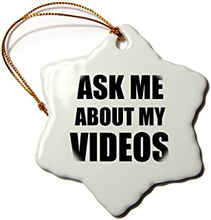3dローズInspirationzStoreタイポグラフィ – Ask Me About Myビデオ – Movie Film Maker Vlogger Advert – Avertising作業Advertise self-promotion – Ornaments 3 inch Snowflake Porcelain Ornament orn_161946_1