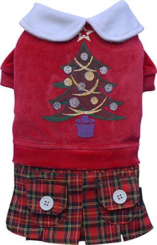Doggy Dolly ST011 Hundekleid Weihnachtsbaum mit Schottenrock, rot, Größe : XS