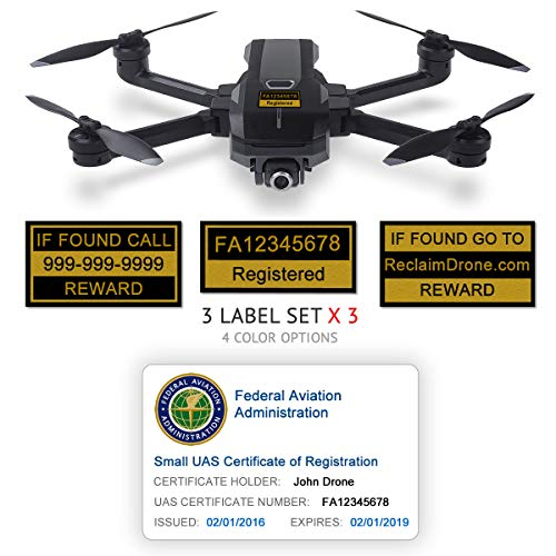 Yuneec Mantis Q - FAA Drone Identification Bundle - Labels (3 Sets of 3) + FAA UAS Registration ID Card for Hobbyist Pilots