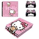 WANGPENG Hello Kitty Ps4 PRO Skin Sticker Decal for Playstation 4 Console And 2 Controller Ps4 PRO Skin Sticker Vinyl