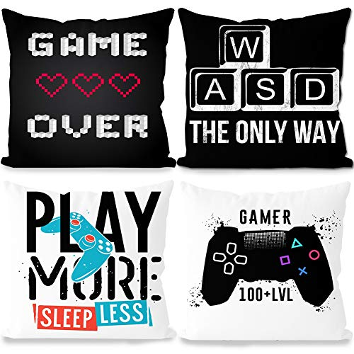 SZWL 4 Pieces Gaming Cushion Cover, Gamer Pillowcase, Video Game Cushion Covers for Gaming Fan Video Game Themed Party Sofa Bedroom Funny Novelty Gift Christmas Decor, 44 x 44cm