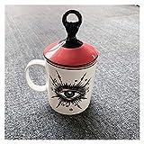 Taza Termo para niños Creative Lovely Lindo Ojos Grandes diseño de la Taza de café del Latte del Capuchino Europeo con la Tapa de la Tapa de cerámica de cerámica de Alto Grado de la Barra del café