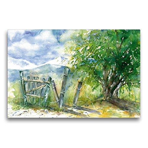 Premium Textil-Leinwand 75 x 50 cm Quer-Format Baum und Zaun | Wandbild, HD-Bild auf Keilrahmen, Fertigbild auf hochwertigem Vlies, Leinwanddruck von Jitka Krause