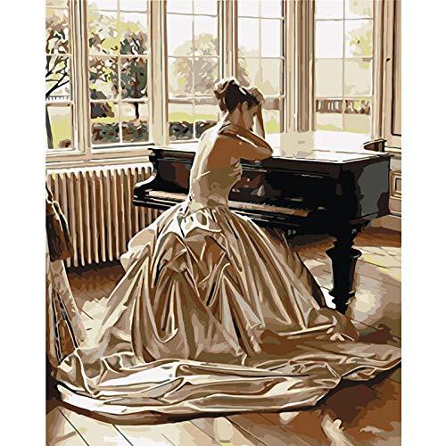 nobrand Puzzle 1000 Teile Elegante Frau Klavier Holzpuzzle Lernspiel Spielzeug Erwachsene Klassische Unterhaltung Familie interaktive Kinder