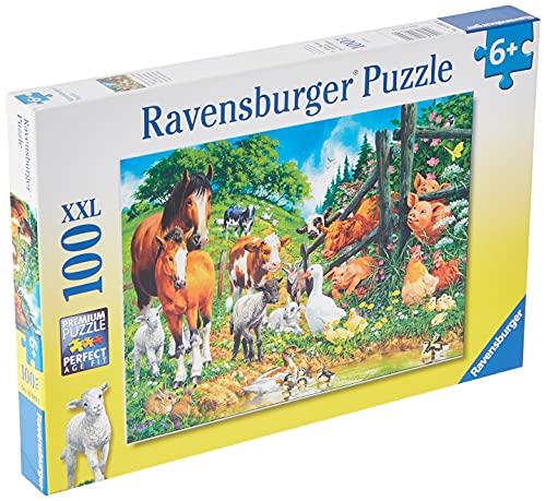 Ravensburger Kinderpuzzle - 10669 Versammlung der Tiere - Tier-Puzzle für Kinder ab 6 Jahren, mit 100 Teilen im XXL-Format