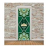 SXINYF Pegatinas 3D para Puertas Verde musulmán Islam religión Autoadhesivo extraíble Impermeable PVC Tapiz Dormitorio Estar baño decoración del hogar calcomanía Cartel de arte-90x200cm