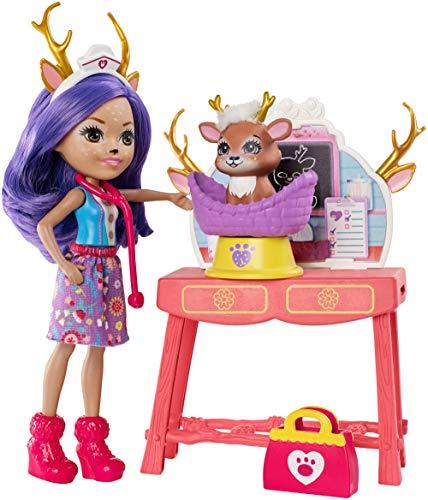 Enchantimals - Danessa Deer y Sprint Clínica de mascotas, muñeca con accesorios (Mattel GBX04)