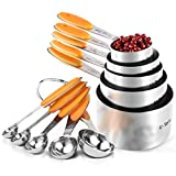 Measuring Cups : U-Taste 18/8 Stainless Steel Measuring Cups and Spoons Set of 10 Piece, Upgraded Thickness Handle(Orange)