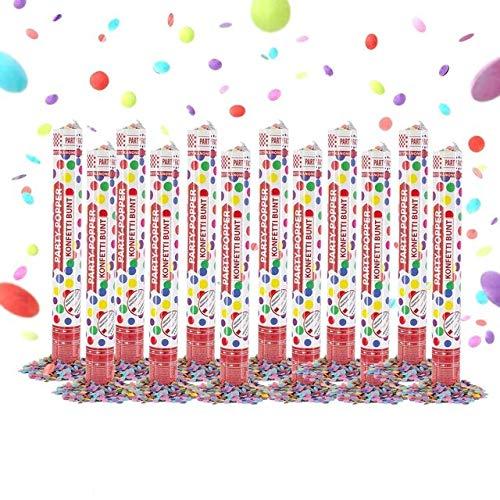 Party Factory 12 Party Popper, 40 cm, buntes Konfetti, Konfettiregen für Hochzeit, Geburtstag oder Silvester