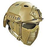 BBYaki Airsoft Paintball Casco Protector, Cascos Tácticos con Máscara de Malla de Acero Juego de CS 8 Colores Selva de Camuflaje Ocultación Cosplay Juego Equipo de Casco,TE