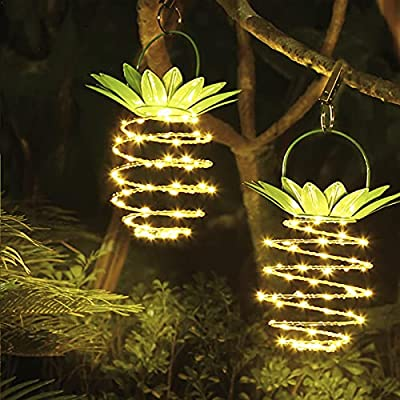 Hanging Solar Lights Outdoor Landscape Decorative Hanging Pineapple Lights 60 LED Waterproof Solar Lanterns for Garden Yard Patio Lawn Balcony Path