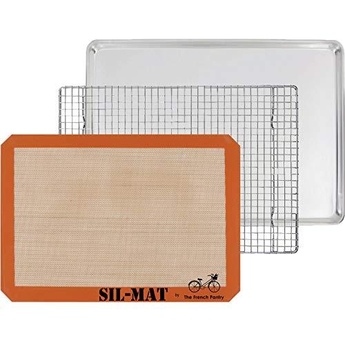 3 Piece Baking Gift Set - Aluminum Sheet Pan, Silicone Baking Mat & Stainless Steel Cooling Rack