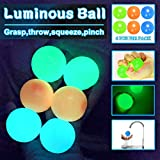 6 pcs Sticky Balls Ceiling Glow Balls for Kids which can be used as Stress Ball Game Squishy Balls Light Up Ball and Bouncy Balls that Stick to the Ceiling Glowing Balls stress relief gifts.