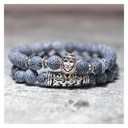 Pulsera de piedra Mujer, 7 chakra perlas de piedra natural azul semiprecioso brazalete elástico plateado joyería animal joyería yoga pulseras de energía reza el difusor del encanto Pulsera de piedra