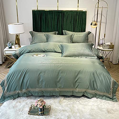 funda de edredón cama 90,Set de sábanas de cama Set de sábanas 4 piezas, sábanas de seda, juegos de cama de lujo, juegos de cama de lujo, duradero-100% de la reina de seda de grado superior-Di_1,8 m