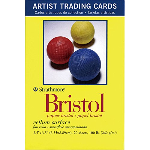 Strathmore 300 Series Bristol Artist Trading Cards, Vellum Surface, 20 Sheets