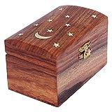 ITOS365 Handmade Wooden Jewelry Box for Women Jewel Organizer Moon and Stars