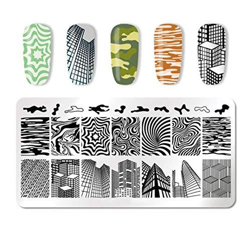 Zebramuster und Stadtarchitektur Nail Art Image Stamp Stamper Template Schablone Geometrische Muster DIY Nail Stamping Plate