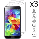 iGlobalmarket [3 Unidades Protector de Pantalla Samsung Galaxy S5 / S5 Neo, Vidrio Templado, sin Burbujas, Alta Definicion, 9H Dureza, Resistente a Arañazos