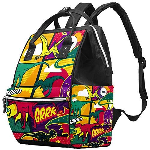 Dinosaures Comic Pop Art Style Nappy Changing Bag Diaper Sac à dos avec poches isolées, sangles de poussette, grande capacité multifonctionnel élégant sac à couches pour maman papa en plein air