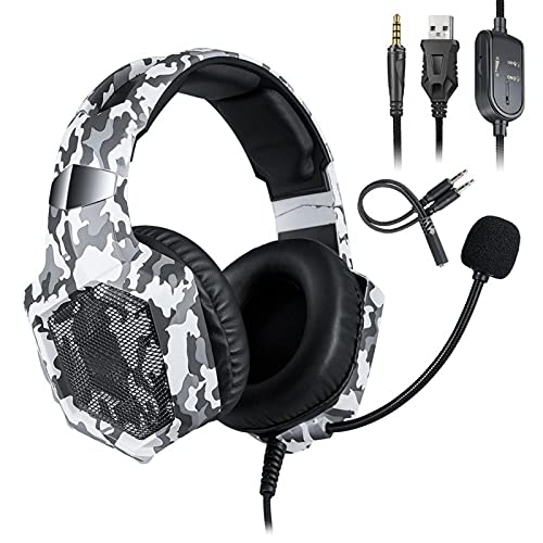 Mxzzand Noise Reduction Gaming Headphones Portable Adjustable Headband Wired Headset,for PS4 Computer PC Gamer
