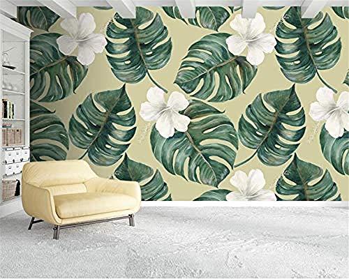 Aanpassen 3D-behang plant abstracte bladbloem plant serie kunstdruk muurschilderij HD-druk poster afbeelding groot touw wandpapier fotobehang 3d effect behang behang woonkamer slaapkamer 430 cm × 300 cm.