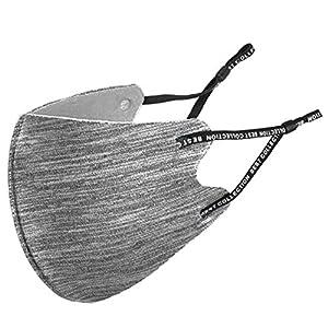 マスク デザイン かっこいい ジャージ生地 洗える 布 おしゃれ スポーツ アクティブ マスク 灰色 杢グレー ライト 1枚 (マスクケース 持ち運び 便利 ジップタイプ 個包装)