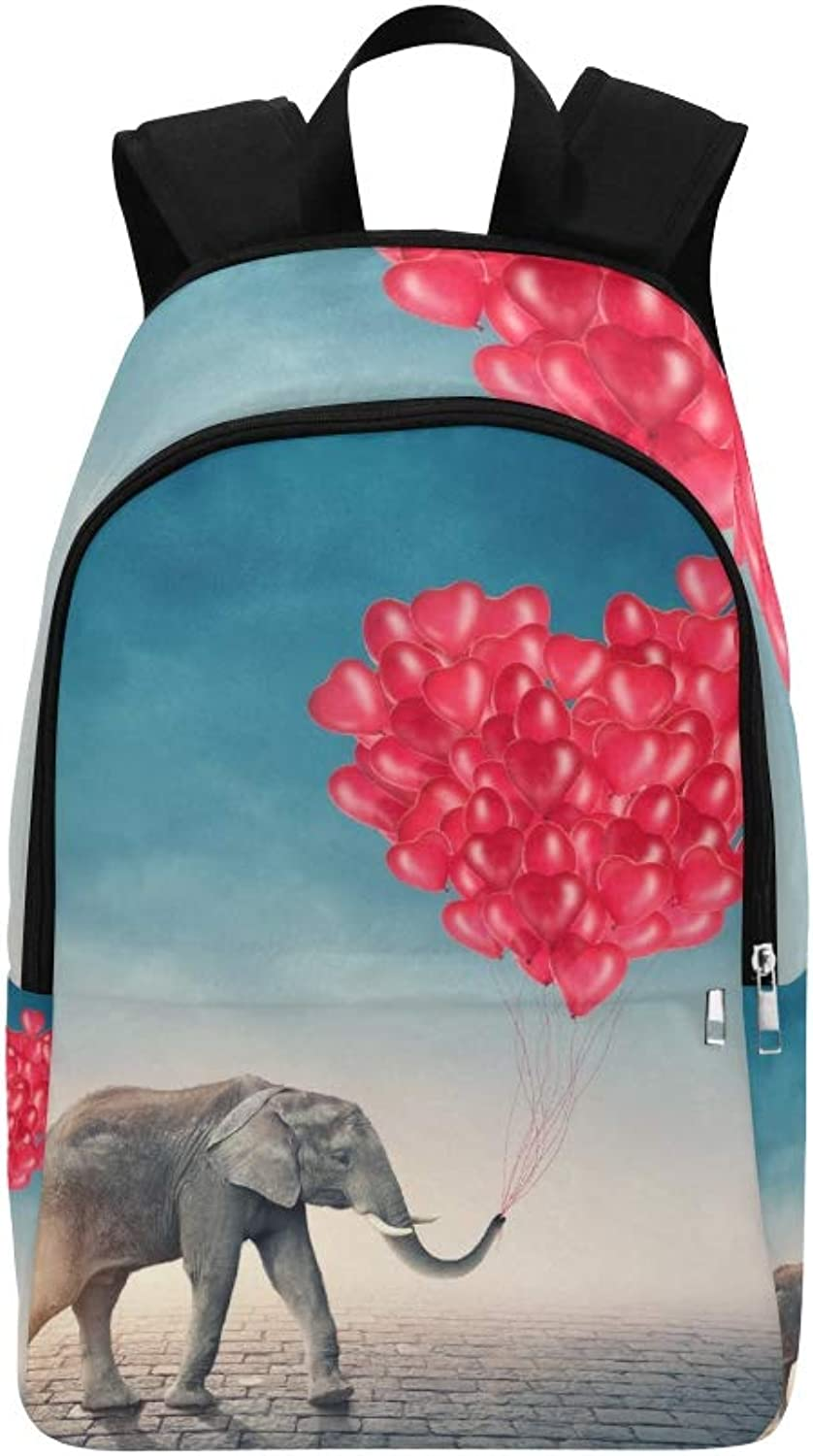 Elephant Going Red Balloons Casual Daypack Travel Bag College School Backpack for Mens and Women