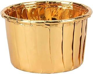 EOPER 100 piezas de papel de aluminio desechable para magdalenas, magdalenas, moldes de postre para decoración de bodas, fiestas y cumpleaños, aluminio, dorado, as picture shown