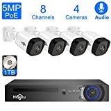 Hiseeu 5MP PoE Security Camera System,8CH PoE Surveillance NVR Kit with 1TB Hard Drive,4pcs 5MP Outdoor Home Security Camera for Video & Audio Recording,Plug-Play Wired Camera System,Onvif Compatiable