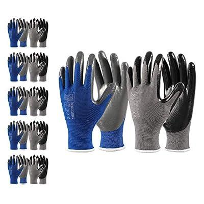 COOLJOB Nitrile Work Gloves, 10 Pairs Durable Working Gloves with Powder Grip, Bulk Pack, Black & Blue & Grey, Medium Size (10 Pairs, M)