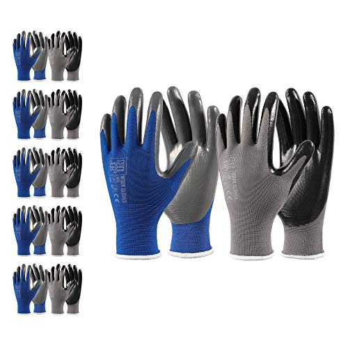 COOLJOB 10 Pairs Nitrile Work Gloves, Durable Working Gloves with Power Grip, Bulk Pack, Black & Blue & Grey, Medium Size (10 Pairs, M)