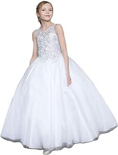 4333fb9f391 Gigi s Classy Kids White Flower Girl First Communion Long Dress Rhinestones  Ball Gown Party Wedding