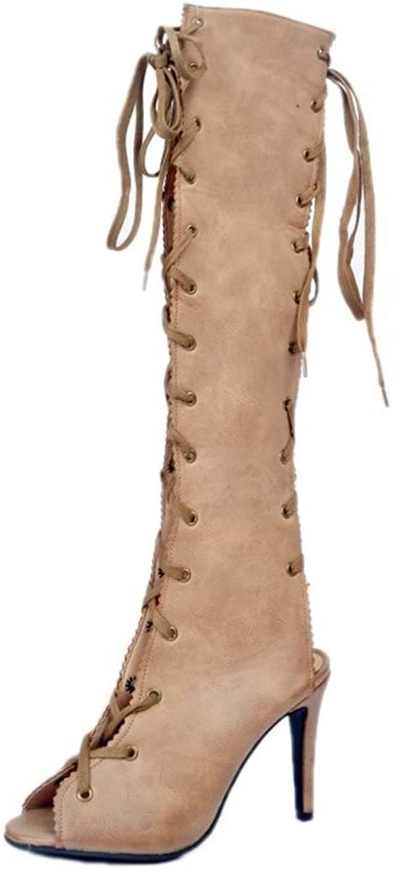 Women Peep Toe Sandals Cross Lace-up Boots Charming 11.5 CM High-heel Temperament Thigh High Boots Size 34-47