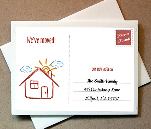 Personalized We've Moved Cards (40 Flat Cards and Envelopes)