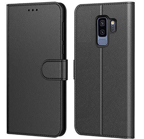 HL Etui Coque pour Samsung Galaxy S9 Plus, Protection Housse en Cuir PU Portefeuille,[Emplacements Cartes],[Languette Magnétique] Plusieurs Couleurs pour (Galaxy S9 Plus (6,2 Pouces), Noir)