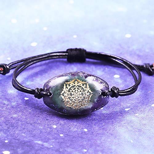 NIUBKLAS Elimine la Pulsera Eegative Chakra Jewelry Pulsera de curación de Reiki Sri Yantra de aventurina Verde Natural