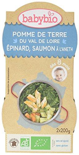 Babybio Bols Pomme de Terre du Val de Loire Epinard Saumon à l'Aneth 2x200 g - Lot de 6