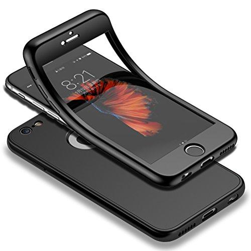 HICASER iPhone 6s 360 Gradi Custodia + Pellicola Vetro Temperato Full Body Ultra Sottile Morbido TPU Antiscivolo Protettiva Case per iPhone 6 / iPhone 6s 4.7' Nero
