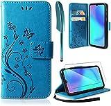 AROYI Funda Samsung Galaxy A42 5G & Protector de Pantalla, Relieve Dibujo Carcasa de Tipo Libro Soporte Plegable Ranuras para Tarjetas Magnético Ultra-Delgado Case para Samsung Galaxy A42 5G, Azul